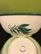 2 Williams Sonoma Herb LARGE Salad Pasta Fruit Serving Bowls Portugal Ceramic
