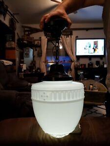 ANTIQUE 1920'S SATIN WHITE  MILK GLASS ORNATE ACORN GLOBE PENDANT LIGHT FIXTURE