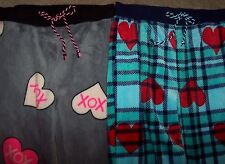 NWT Betsey Johnson LOT 2 Gray XOXO/Blue Plaid Plush Lounge/Pajama Pants L HEARTS