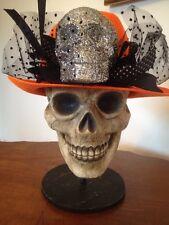 Bethany Lowe Orange Fedora with Glittered Skull--retired