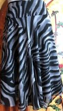 EAST 5TH Women's Animal Zebra Print Skirt Fully Lined Grey Black Size 12 A-Line