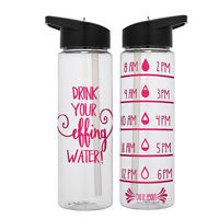 Water Tracker Muscles and Mascara Sports Water Bottle 34 Oz