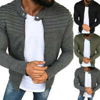 UK Mens Pleated Casual Jacket Collared Zip Up Long Sleeve Slim Fit Coat Overcoat