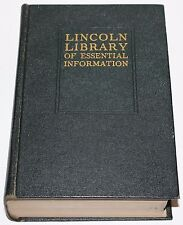 1935 LINCOLN LIBRARY OF ESSENTIAL INFORMATION The FRONTIER PRESS Co. Buffalo, NY