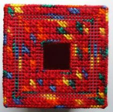 TISSUE BOX COVER HANDMADE RED/ORANGE/YELLOW DESIGN