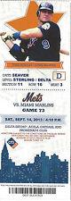 Todd Hundley 3x All-Star Mets vs. Marlins Citi Stub Sept 14 2013 Game 73