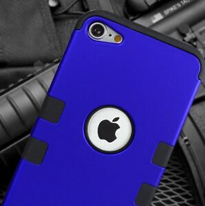 iPod Touch 5th 6th 7th Gen - BLUE Shockproof Armor Hard&Soft Rubber Hybrid Case