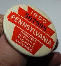 Vintage 1950 Pennsylvania Resident Fishing License / Nice