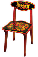 Wooden Khokhloma CHAIR for Kids Playroom Bedroom. Hohloma Russian Style Patterns
