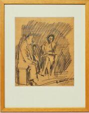 Zeichnung Luciano Albertini figürlich Portrait 1939 Sammlung Karl Schott 40x32cm