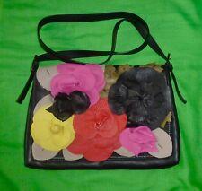Valentino Garavani Black Floral Multicolor Applique Nappa Leather Crossbody Bag