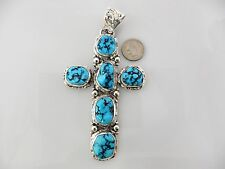 Large Sterling Silver Natural Darling Darlene Turquoise Handmade Cross Pendant
