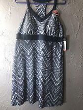 Womens ZeroXposur Nickel Gray Chevron Striped Stretch Swim Cover Dress 2xl