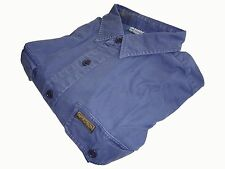 Ralph Lauren Polo Twill Military Shirt Size L Blue Chino Long Sleeve