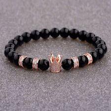 Luxury Crown Natural Stone Black Agate Fashion Men's Gem Bead Charm Bracelets