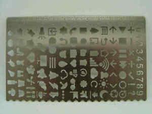Pochoir Symbole Normographe Trace Gabarit Chiffres symbole règle Déco Loisirs