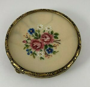 Vintage Concave Embroidered Floral Trinket Jewelry Bowl Footed Gold Tone Metal