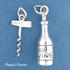 .925 Sterling Silver 3-D WINE BOTTLE And CORKSCREW Charm SET - lp2575a