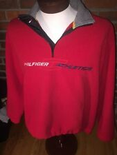 Tommy Hilfiger Fleece Athletics Med Red Vtg 1/4 Zip Sport Spell Out Jacket Coat