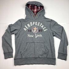 Vintage Aeropostale Women's 87 Aero Grey Hooded Sweatshirt New York Size Medium