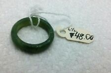 Natural Green Jade Gemstone Ring Solid Continuous Rounded Band Size  6 1/2