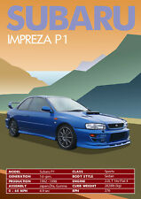 SUBARU IMPREZA STi P1 v2  Wall Art, Retro, Classic, Vintage, Classic Car