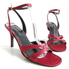 Ann Taylor Italy Red Satin Sandals Ankle Strap Open Toe Heels Womens Size 8.5 M