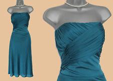 MONSOON Green Teal Stretch Jersey Strapless Corset Prom Midi Dress UK 12  EU 40