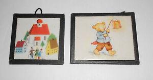 2 Bilder für Puppenstube Puppenhaus um 1950/60 DDR !