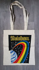 Rainbow down to earth vintage shopping LINEN bag logo metal music