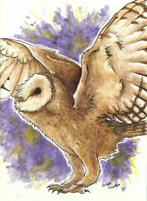 Golden Wings - Purple Barn Owl - Original Watercolor Drawing