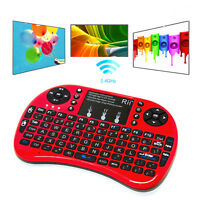 Rii i8+ Red Mini Wireless 2.4G Backlight Touchpad Air Mouse Keyboard for PC Andr