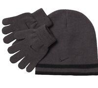 NIKE Boys Reversible Cap Hat & Gloves Set Gray/Black Size 8-20 Winter Warm NWT