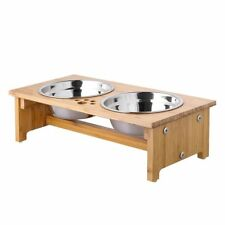 FOREYY Raised Pet bowls for Cats and Small Dogs - Bamboo Elevated Dog Cat Food