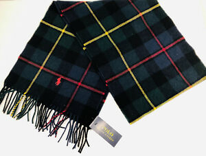 POLO RALPH LAUREN Men's Plaid Wool Blend Scarf With Fringe Made in Italy