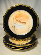 Set 4 Artist Signed Guerin Limoges Game Fish Hand Painted Cabinet Plates 1900-32