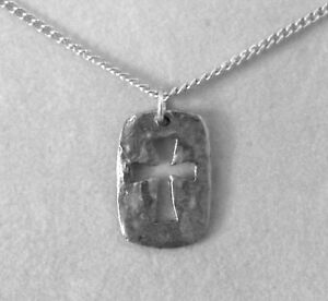 Hammered Pewter Cut Out Cross Charm on a Silver Tone Link Necklace-0396