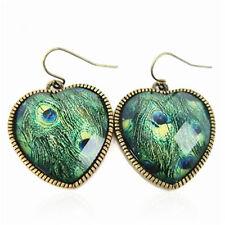 Vintage style peacock eye feather resin heart earrings