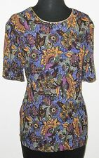 """Norton McNaughton Multicolor Short Sleeve 36"""" Bust Pull-Over Shirt Blouse"""