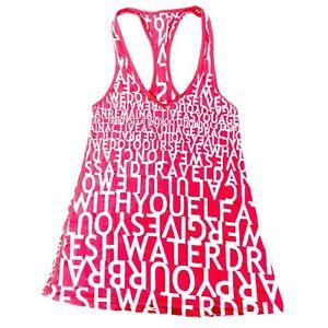 Lululemon Pink White Scoop Neck Racerback Yoga Tank Top • Size 4 *