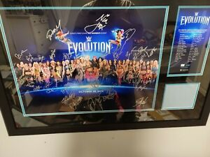 WWE WOMEN'S EVOLUTION 2018 FRAMED AUTOGRAPHED 30+ RING MAT PLAQUE #4/200