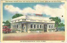 1949 SARRES' DRIVE INN RESTAURANT Ocala Florida Postcard Frog Legs Chicken Diner