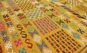 Moroccan Vintage Carpet Sabra Kilim Rug Tribal Atlas Berber Hand Woven Yellow
