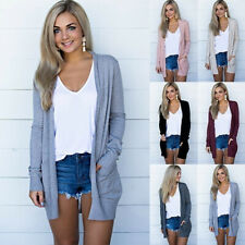 Women Knit Cardigan Long Sleeve Open Front Pocket Sweater Jumper Coat Tunic Tops