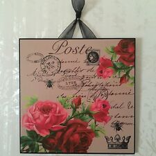 Vintage Paris Shabby Roses Wall Decor Sign Plaque French Country Chic