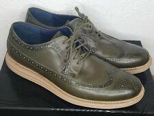 Cole Haan Lunargrand Wingtip Oxford Olive Green Leather Mens Size 13 Dress Shoe