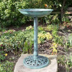 Traditional Bird Bath Freestanding Tall Weatherproof Resin Garden Ornament