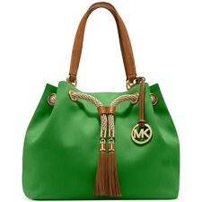 5e95f12a3c57 Michael Kors Green Marina Large Gathered Canvas Leather tassels Shoulder Bag