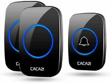 CACAZI Home Wireless Door Bell Chime Kit LED Flash Doorbell 1000Ft Remote Range