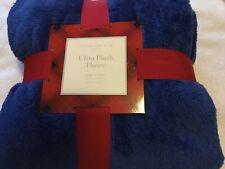 Charter Club Ultra Plush Oversized Blue Throw